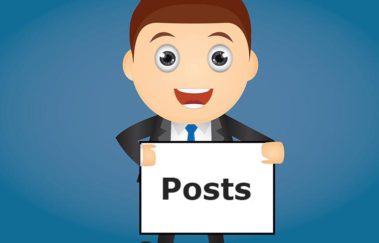 Postsの看板を持つ男