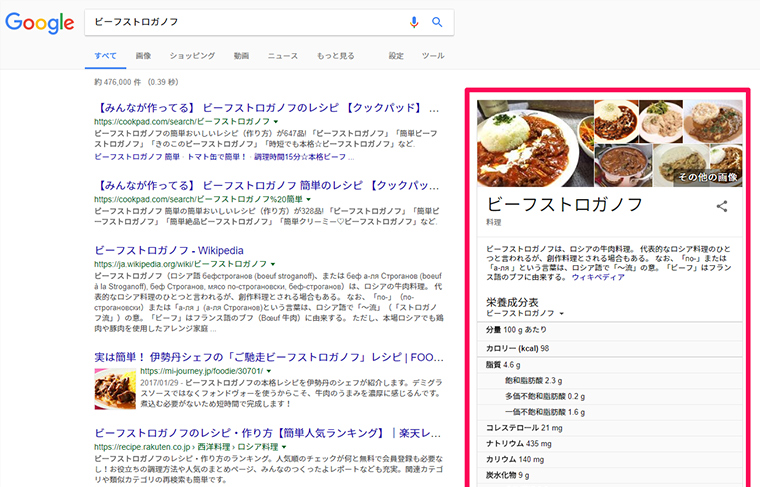 Googleのナレッジパネル表示結果