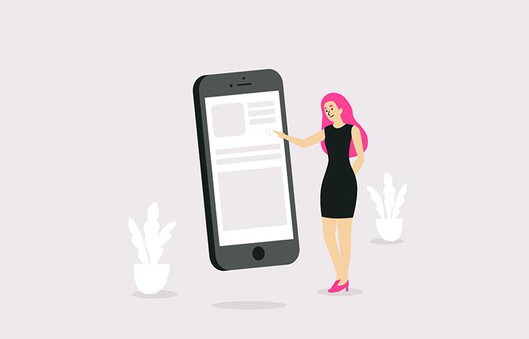 スマートフォンに触る女性