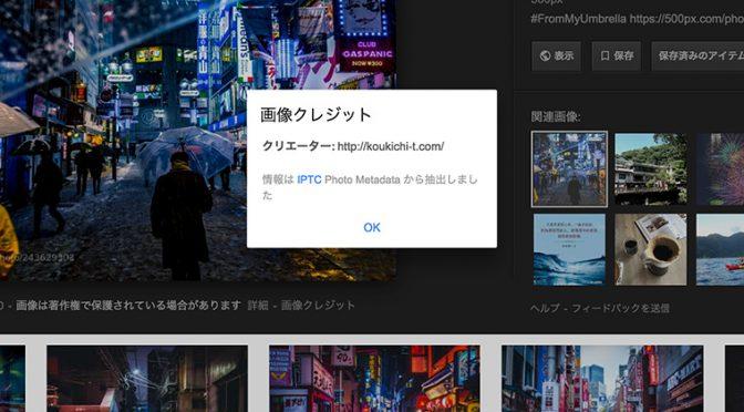 Google画像検索の画像クレジット表示画面