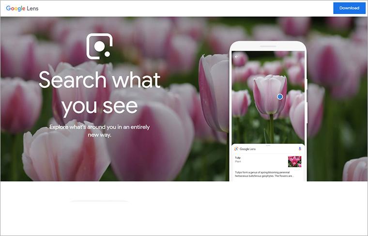 Google Lensのホームページ