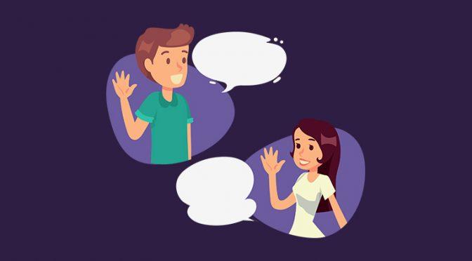 会話をする人々