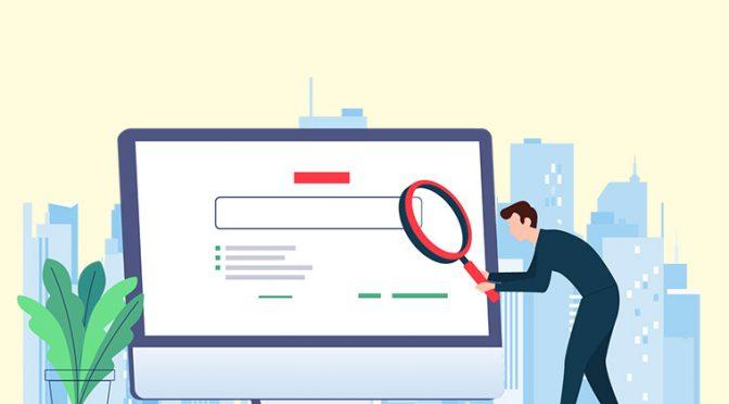 モニターの前で検索している人のイメージ
