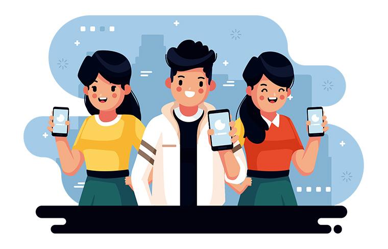 スマートフォンを持つ人々